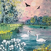 Swan Lake Square ブランク グリーティングカード アーティストJo Grundyアートレンジカード