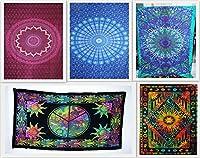 By Futureハンドメイド卸売パックの5ツインタペストリーElephant Printed Tie Dye Tapestry瞑想ヨガタペストリーMandala Art Wall HangingビーチブランケットHippiesコットンホームDecorベッドスプレッド 55 W X 81 L Inches Approx FHA829