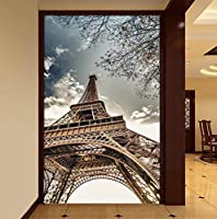 Weaeo カスタムブルースカイエッフェル塔の写真の壁紙ホテルのリビングルームエントランスの建物の3D壁の不織布の防湿壁紙の3D-200X140Cm