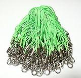 【BeryKoKo】 ストラップ カニカン 付き 長め 5cm ヒモ 自作 アクセサリ 「 グリーン ( 緑 ) × シルバー ( 銀 ) 」 約100本 【正規品/30日間保証】