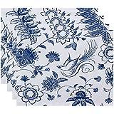 E byデザインpt4fn497bl15 18 x 14、花柄」従来の鳥印刷プレースマット、ブルー