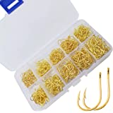 Drasry Fishing Treble Hooks Set for Saltwater Freshwater Size 1/0 to 16 High Carbon Steel Different Fish Hook 50pcs/Box