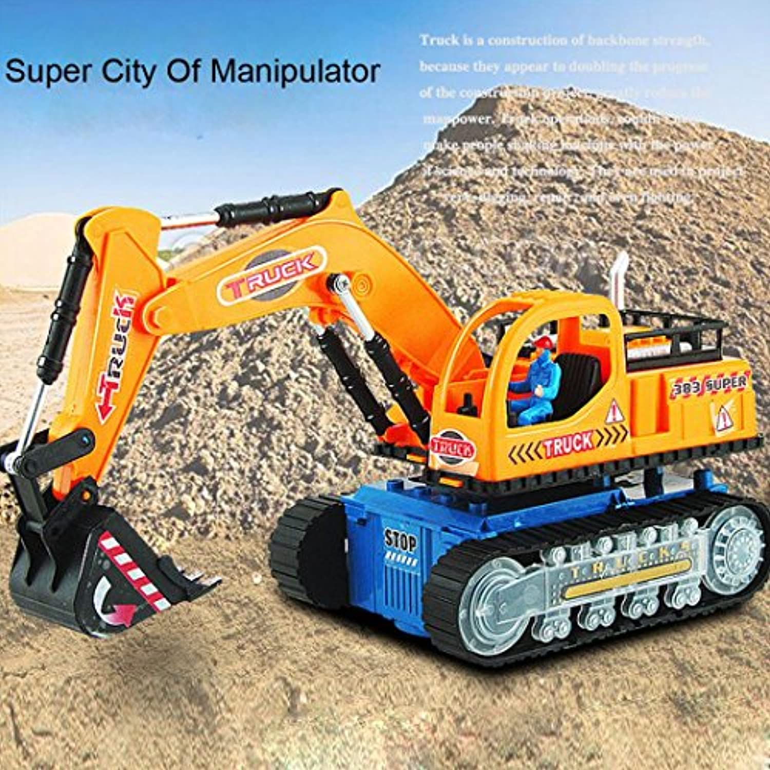 inverleeおもちゃfor Boys LED Electric Construction Vehicle Excavatorトラックモデルwithライトand Music Great Gift for Kids マルチカラー IN
