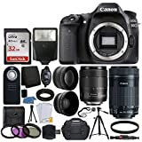 Canon EOS 80D DSLR Camera Body + Canon EF-S 18-135mm f/3.5-5.6 IS USM Lens & Canon EF-S 55-250mm f/4-5.6 IS STM Lens + 67mm 2x Lens + Wide Angle Lens + 32GB Card + UV Filter Kit 58mm + Complete Bundle [並行輸入品]