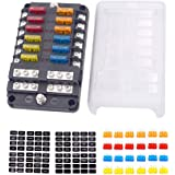 12-Way Fuse Block With ground, 6 Circuit ATC/ATO Fuse Box Holder with negative bus, Protection Cover & LED Light Indication,