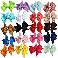 TiaoBug 20pce 4 inch Baby Girls Ribbon Grosgrain Boutique Hair Bows Clips Sets for Infant Toddler Kids