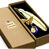 Vintage-Style Metal Feather Bookmark Gift Box, with 3D Butterfly and Dried Flower Bead Charms, A Suitable Gift for Women, Gir