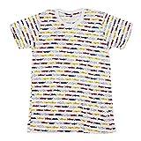 メンズ かわいい ワニ クロコダイル カラフル Tシャツ 総柄 ホワイト (XL) T173 [並行輸入品]