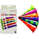 Helpcook Popsicle Molds,6 Pieces Silicone Ice Pop Molds,Drip Free Popsicle Maker for Kids,BPA Free Freezer Tubes with Lids,Fo