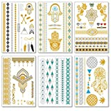 (Saona Collection) - Metallic Temporary Tattoos for Women Teens Girls - 12 Sheets Gold Silver Temporary Tattoos Glitter Tattoo Designs Jewellery Tattoos - 150+ Colour Flash Fake Waterproof Tattoo Stickers (Saona)