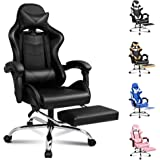 ALFORDSON Gaming Chair Racing Chair Executive Sport Office Chair with Footrest PU Leather Armrest Headrest Home Chair