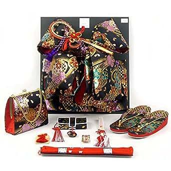 七五三着物 7歳 女の子 金襴の結び帯(大寸)と箱セコペアセット【黒】 DPS106