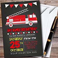 10x Fire TruckチョークスタイルPersonalized Childrens誕生日パーティー招待状