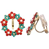 SELOVO Wreath Christmas Clip on Earrings Stud Green Red Crystal Gold Tone