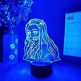 3D Night Light lamp Birthday led Decoration Nezuko Silhouettes Laser Engraved 3D Illusion Lamp Kawaii Japanese Anime Night Li