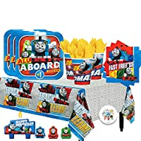 Thomas The Train Birthday Party Pack for 16 with Plates, Napkins, Cups, Tablecover, and Candles
