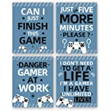 "Gaming Art Print, Funny Video Game Canvas Paintings Poster,Set of 4(8""X10"",Unframed),Inspirational Saying Quote Gaming Theme"