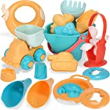 Let's Party 17 Pieces Kids Beach Sand Toys Set, Soft Rubber Material, Truck Bucket Sandbox Water Wheel Castle Sea Animal Mold