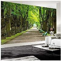 Xbwy カスタム壁画壁紙3Dステレオ美しい緑の木道写真壁壁画リビングルームのソファの背景-350X250Cm