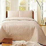 gardenlightess ベッドスプレッド キルト ベッドカバー 3点セット シンプル 無地 ダブル 綿100% クリーム色