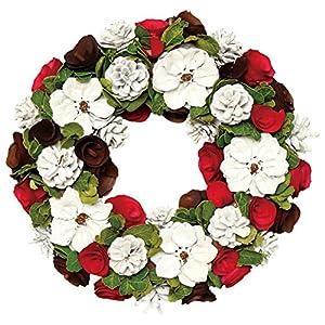 彩か SAIKA リース M インテリア用玄関飾り レッド 赤 CGX-252Mr White Flower Wreath M (Red)