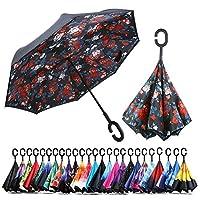 Chiasa 逆転傘 逆さ傘 逆折り式傘 大きい 晴雨兼用 自立傘 長傘 手離れC型手元 ビジネス用 車用 UVカット