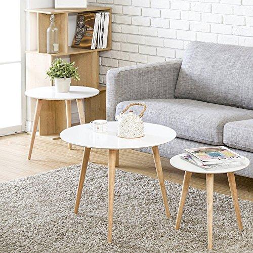 HOMURY ネストテーブル 北欧テイスト 丸 コーヒーテーブル