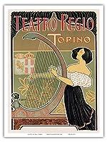 """Teatro Regio (Regio Theater) -トリノトリノ、イタリア–アールヌーボー–La Belle époque-"""" Les Maitres de l 'affiche"""" -アートdeco- (ヴィンテージイタリア広告ポスター) by E。Bigliardi ca。1897–マスターアートプリント 9"""" x 12"""" PRTA7026"""