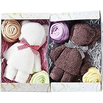 ブルーム 今治タオル タオルベア タオルギフト 2個セット ベア & お花 かわいい タオル ギフト プレゼント 日本製 (ホワイト & ブラウン)