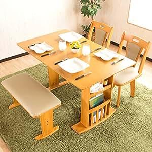 4人掛け 伸長式ダイニングテーブルセット 木製テーブル 回転チェア ナチュラル