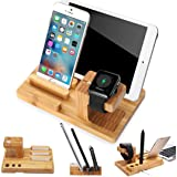 MOOZO Bamboo Wood Multi-Device Desktop Charging Dock Station Charger Holder Cradle Charge Stand Compatible iPhone X 8 7 6 6S