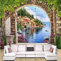 Xbwy カスタム写真壁紙3Dステレオアーチ市建物壁画リビングルーム寝室レストラン背景壁紙ロール家の装飾-120X100Cm