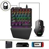 Delta essentials FO203 E-Sports コンボ 青軸 メカニカル ゲーミングキーボード&マウス 接続アダプタ PS4/PS3/Xbox One/Nintendo Switch 対応 ヘッドセットジャックを内蔵