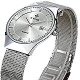 WWOOR 腕時計 ラウンドスリム 薄型 ビジネス クォーツ時計 防水 男性 銀色