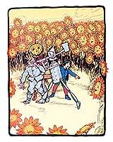 """ウィザードのオンス、"""" Surrounded Byオレンジ花"""" Featuring Pumpkinhead、ヒント、weezlebug、and the Tin Man。Perfect for a子供の部屋、Playroom、または保育園部屋。 11x14 inches グリーン"""