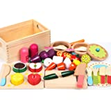 29pc Kitchen Wooden Kids Play Set, Include Vegetables Fruit Cutting Tools