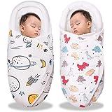 Comfort U 新生児 おくるみ ベビー寝袋 コットン100% 2枚セット 赤ちゃん 抱っこ布団 ベビー 夜泣き対策 タオル 授乳ケープ お昼寝 暖かい 通気性 吸水速乾 敏感肌適合 出産準備 出産祝い (宇宙+恐竜 2枚入, 0-3ヶ月)