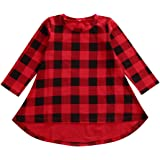 Bamboogrow Lovely Baby Kids Girl Long Sleeve Plaids Checked Party Princess Floral Dresses Tutu