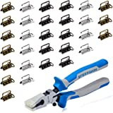 SPEEDWOX 30 Sets of 1.25 Inch Key Fob Hardware with Split Rings and Key Fob Pliers Multicolor Gun Black/Antique Brass/White N