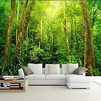 Lixiaoer カスタム3D壁壁画壁紙サンシャインフォレストツリー風景の壁の装飾リビングルームの寝室の家の装飾の壁紙-400X280Cm