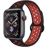 METEQI バンド 対応 Apple Watch, シリカゲルバンド スポーツシリコンストラップリストバンド交換バンド柔らか運動型 M/L Series 6/5/4/3/2/1/SE (42MM/44MM, ブラック/赤)