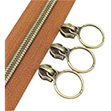 (anti-brass brown) - YaHoGa 5 Antique Brass Metallic Nylon Coil Zippers By The Yard Bulk 10 Yards Brown Tape With 20pcs Coppe