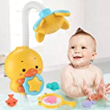 Sotodik Baby Bath Toys Electric Duck Water Pump with Hand Shower Sprinkler for Kids,Water Squirt Shower Faucet with Suction C