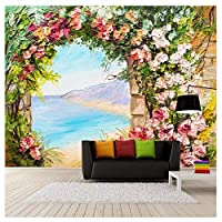 ステレオアーチの花の風景、リビングルームの台所の壁のための3D壁画の壁紙、アートデコレーションポスターカスタム200 cm(W)×140 cm(H)