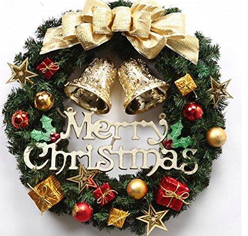 クリスマス リース 玄関 ドア ゴージャス かわいい 選べる 3種類 ゴールド レッド パウダースノー (3 ゴールド)