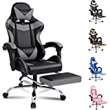 ALFORDSON Gaming Chair Racing Chair Executive Sport Office Chair with Footrest PU Leather Armrest Headrest Home Chair in Grey