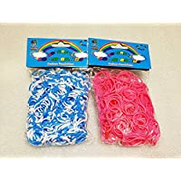[Artasy ™][並行輸入品] DIY 4段 X ピンクゴムバンドブレスレット (ブルー x ホワイト + ピンク) Loom Bands refill Pack - (600 + 600 pcs) rubber ring Color: Blue X White + Pink