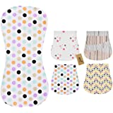 iZiv 4 Pack Baby Burp Cloths Feeding Nursing Towel Accessory, 3 Layers Absorbent Printing Soft Cotton 0-2 Years (Color-6)