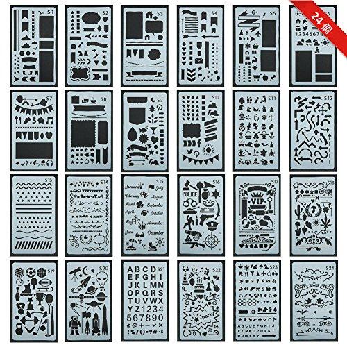 24個入り ステンシルシートジャーナルテンプレート 製図 手帳 ステンシルプレート プラスチック DIYアルバム 絵図