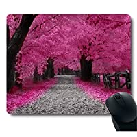 Neon Pink Sakura Cherry Blossom Red Leaves Tree Decorative Customized Mouse Pad [並行輸入品]